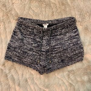 Forever 21 Shorts - Navy blue and white knitted drawstring shorts